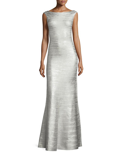 Scoop-Back Flared Bandage Gown, Silver