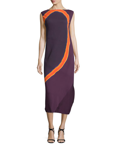 Sleeveless Circle-Print Georgette Midi Dress, Purple