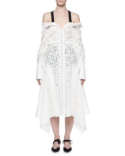 Off-the-Shoulder Pompom Handkerchief Dress, White