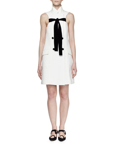 Sleeveless Tie-Front Double-Breasted Jacquard Dress, White