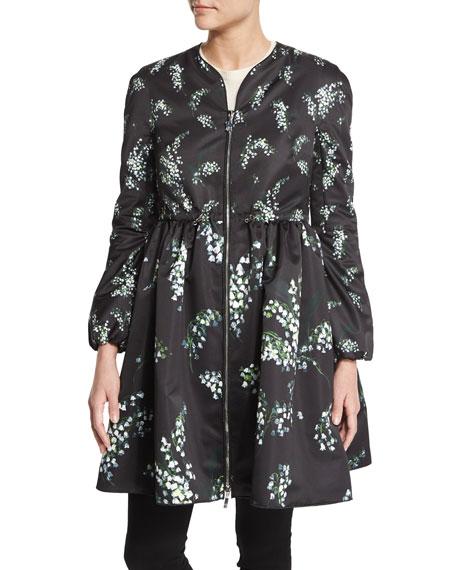 Floral Sleeve Bishop Jacket Black Print Moncler 4xqEHzwnFH