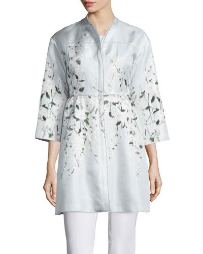 3/4-Sleeve Floral-Print Silk Jacket