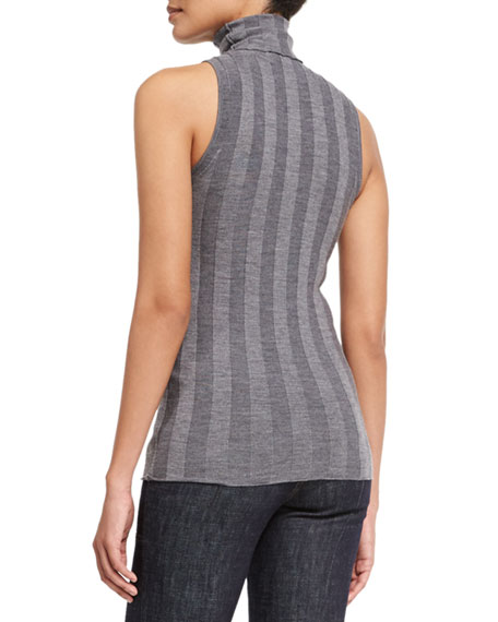 Sleeveless Turtleneck Striped Sweater, Gray