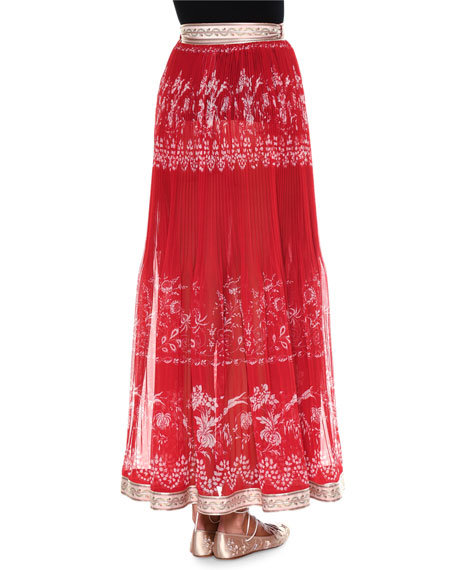 Pleated Stencil-Print Maxi Skirt, Red