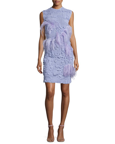 Sleeveless Stretch-Lace Plume Dress, Lavender