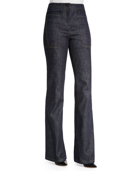 High-Waist Wide-Leg Denim Trousers, Indigo