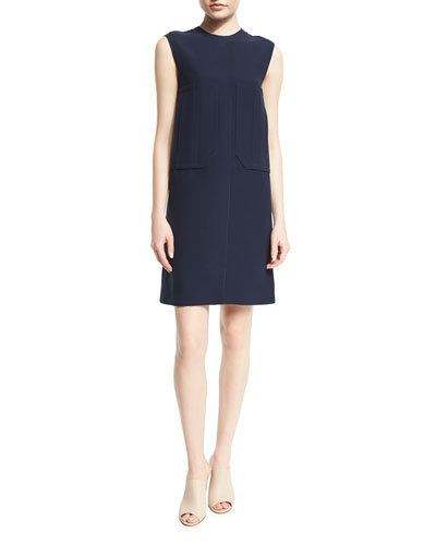 Sleeveless Patch-Pocket Shift Dress, Navy