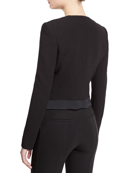 Cutaway Wool-Crepe Cardi Jacket, Black