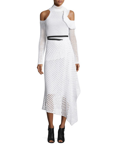 Mock-Neck Cold-Shoulder Mesh Midi Dress, White