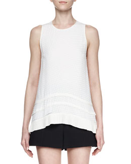 Sleeveless Silk Fil Coupe Top, White