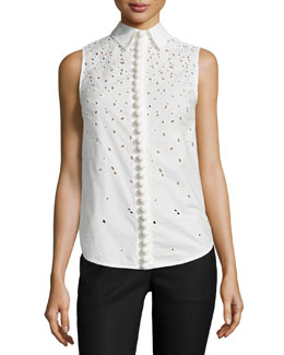 Sleeveless Embroidered Button-Down Top, White