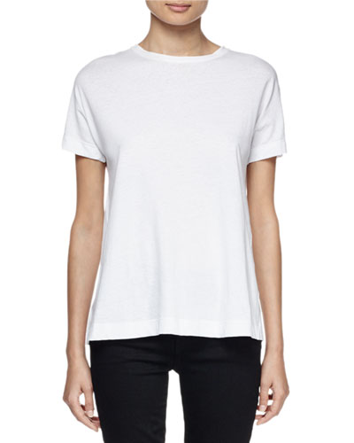Short-Sleeve Jersey Tie-Back Top, White