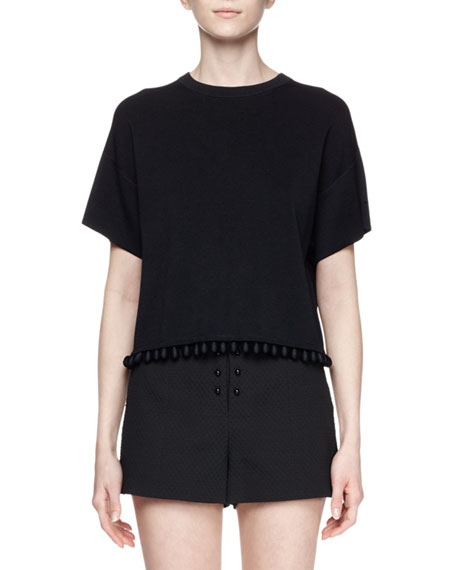 Short-Sleeve Cutaway-Back Crop Top, Black