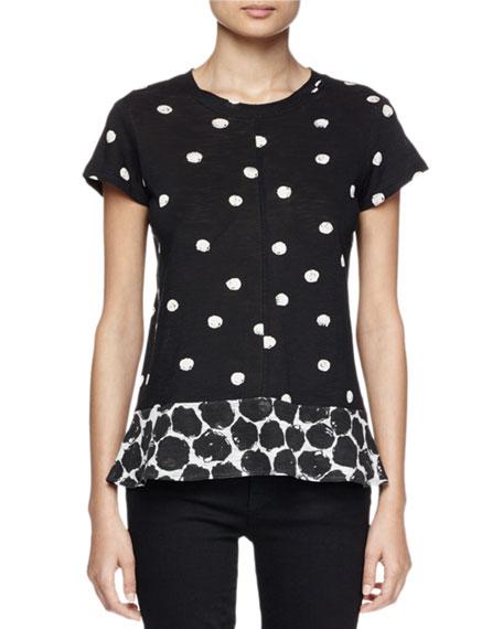 Short-Sleeve Ruffle-Hem Dot-Print T-Shirt, Black/Crimson/Multi