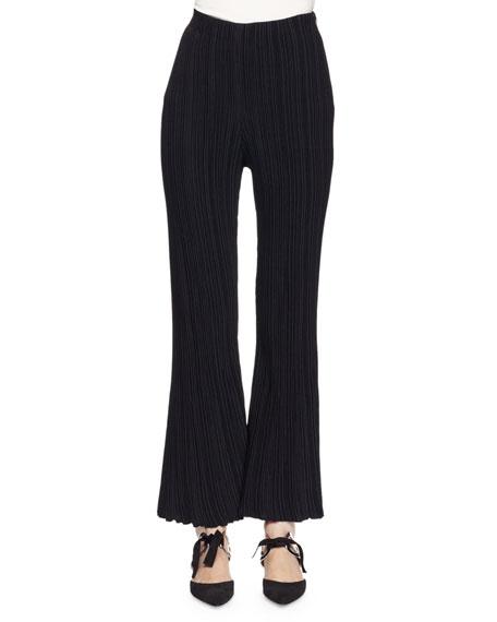 Micro-Pleat Flare-Leg Pants, Black