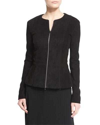 Anastra Zip-Front Suede Jacket, Black
