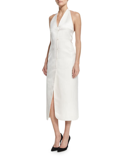 Button-Front Silk Halter Dress, White