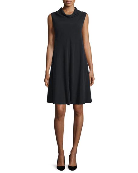Sleeveless Cady Cowl-Neck Swing Dress, Black