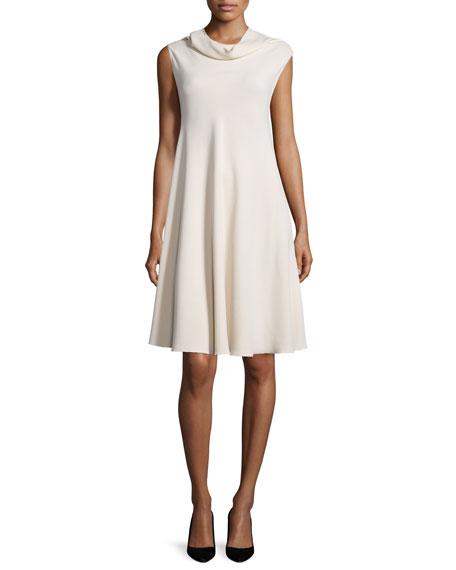 Jenphen Sleeveless Cady Cowl-Neck Swing Dress, Alabaster