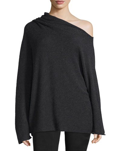 Long-Sleeve Asymmetric Off-the-Shoulder Sweater, Shadow