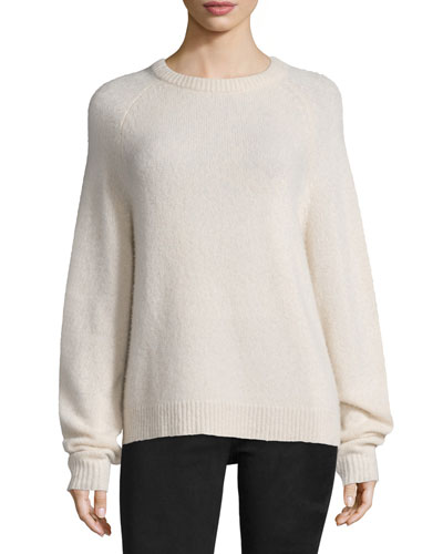 Long-Sleeve Crewneck Sweater, Cream