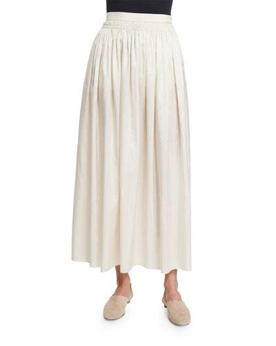 Tovo High-Waist Full Midi Skirt, Old Lace