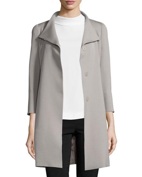 3/4-Sleeve Wool Gabardine Coat, Taupe