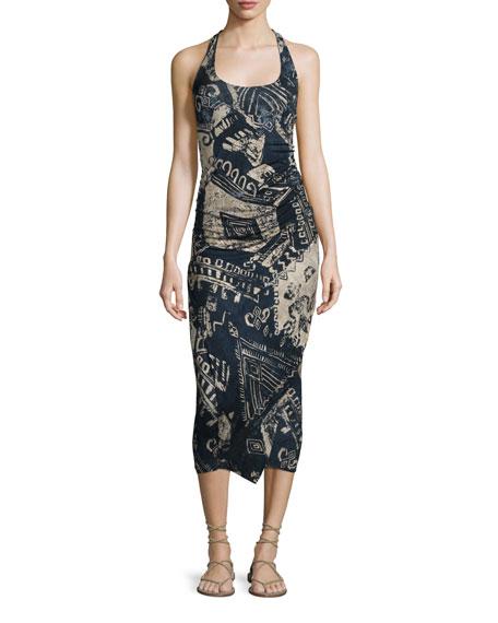 Sleeveless Tribal-Print Stretch-Knit Wrap Dress, Parchment