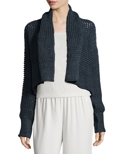 Knit Shawl-Collar Cropped Bolero Sweater, Antique Teal
