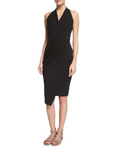 Sleeveless Stretch-Knit Wrap Dress, Black