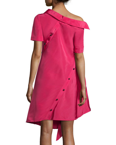 Asymmetric Silk Faille Shirtdress, Magenta