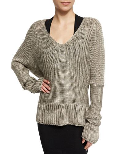 Long-Sleeve Draped Knit Sweater, Sage