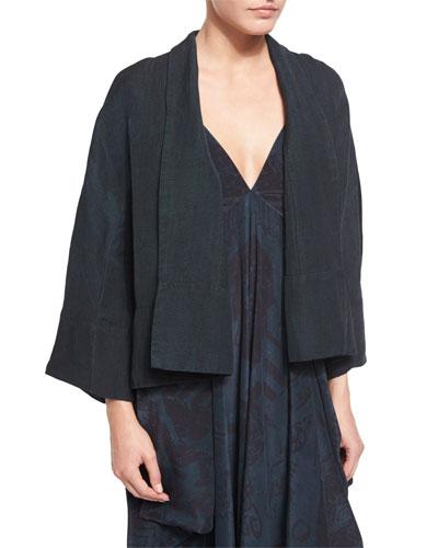 3/4-Sleeve Woven Kimono Jacket, Antique Teal