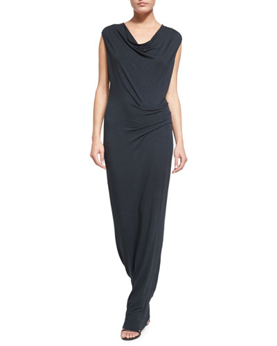 Cap-Sleeve Cowl-Neck Maxi Dress, Antique Teal