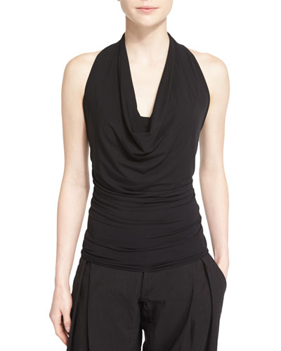 Sleeveless Stretch-Knit Cowl-Neck Top, Black