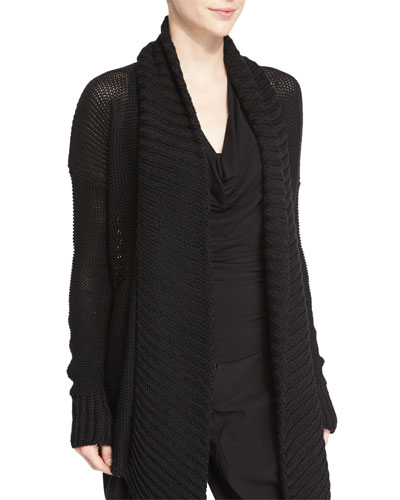 Long-Sleeve Open-Front Knit Cardigan, Black