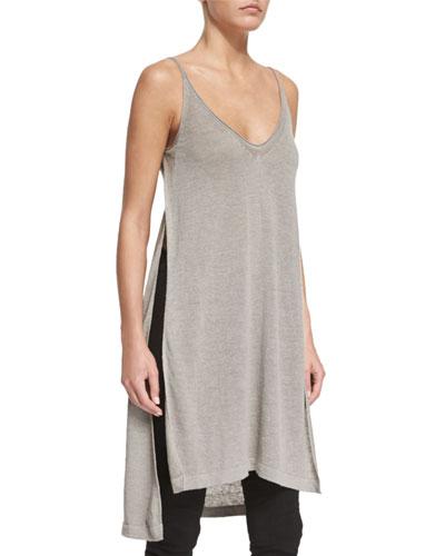 Side-Slit Long Knit Cami Top, Sage