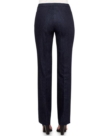 Francoise Cropped Straight-Leg Pants, Navy