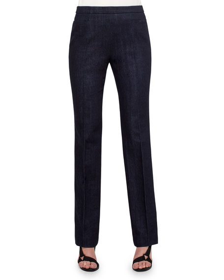 Francoise Cropped Straight-Leg Pants, Navy
