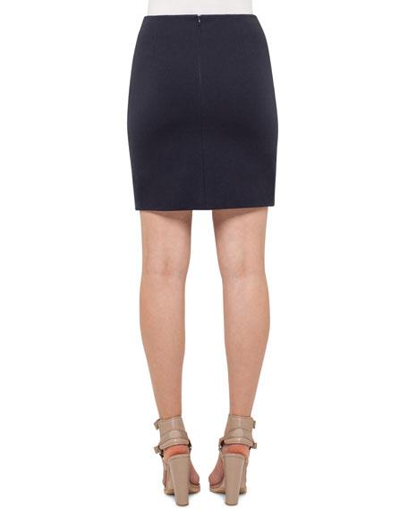 Stretch-Jersey Mini Skirt, Denim