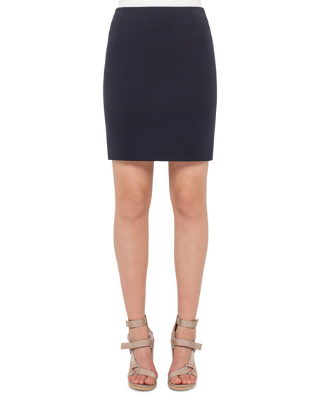 Akris punto Stretch-Jersey Mini Skirt, Denim