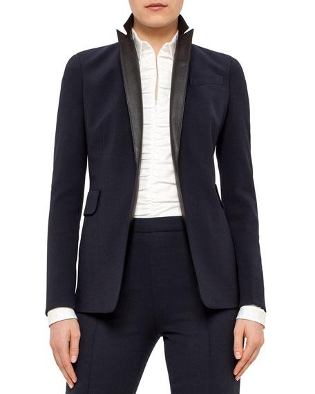 One-Button Blazer w/Leather Lapels, Navy