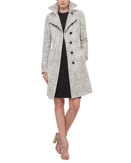 Cross-Stitch Printed Jacquard Trenchcoat, Chalk/Cliff