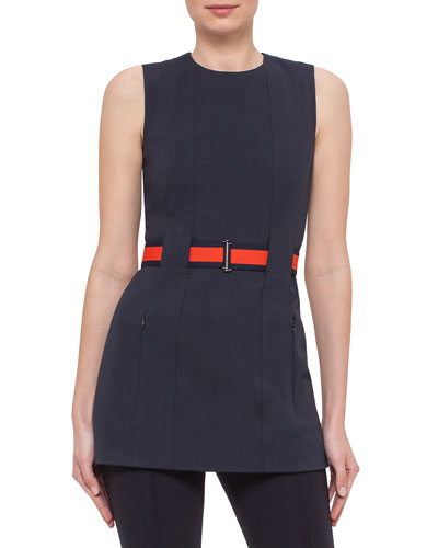 Sleeveless Belted Jersey Tunic, Navy