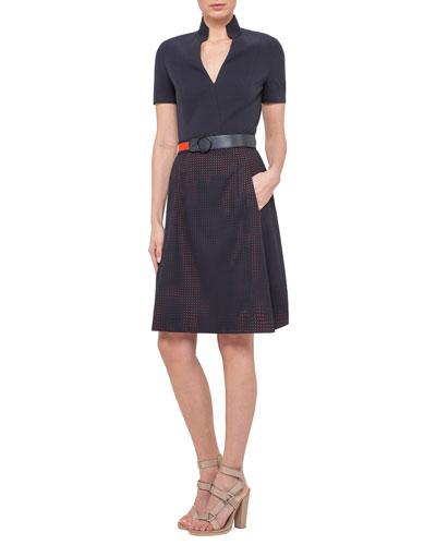 Short-Sleeve A-Line Combo Dress, Navy