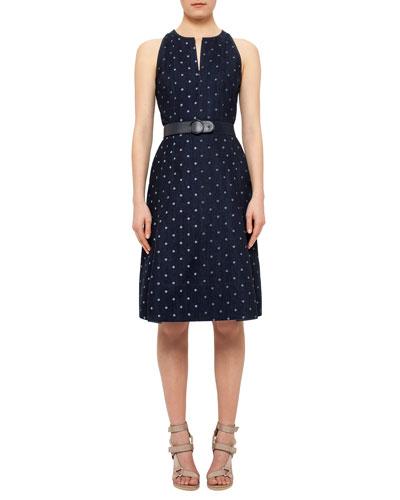 Sleeveless Denim Polka-Dot Belted Dress