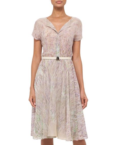 Short-Sleeve Printed Silk Shirtdress, Multi