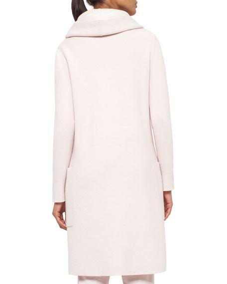 Long Oversized Reversible Cashmere Cardigan Coat, Flamingo/Pelican