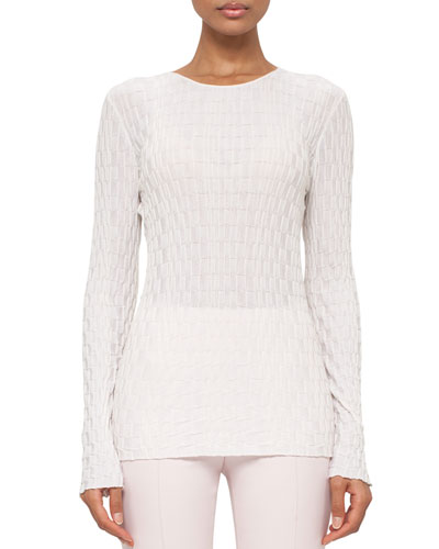 Crinkled Wool-Blend Pullover Sweater, Pelican