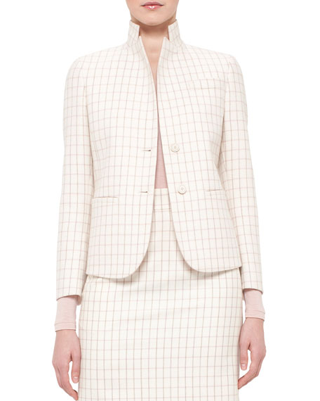 Akris Fairy Plaid Two-Button Jacket, Pelican/Flamingo